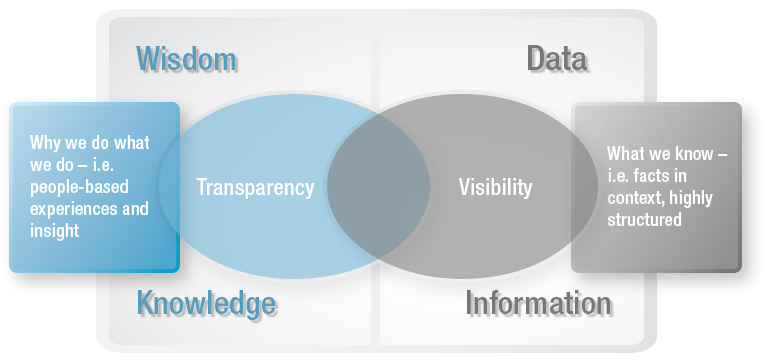Moving from raw information to data to knowledge