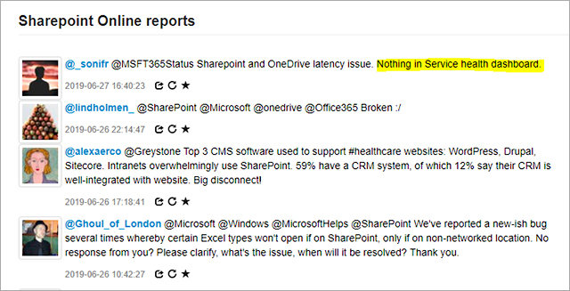 Some users complained about the SharePoint issue not being displayed on Microsoft service health dashboard