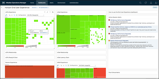 The user experience dashboard for vRealize Operations helps administrators monitor system status.