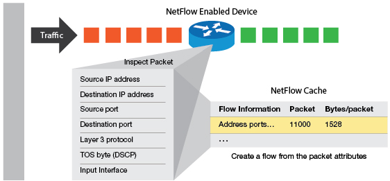 Netflow record format shows a flexible way to record network performance data.