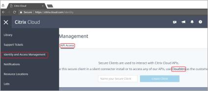 Citrix Cloud Management screen