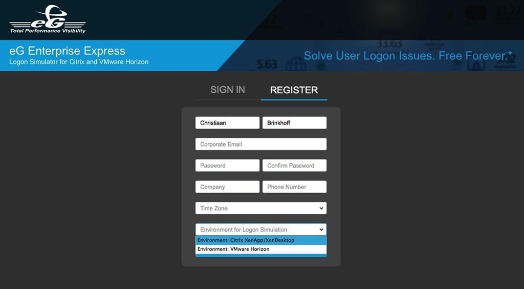 Cloud registration form for Citrix logon