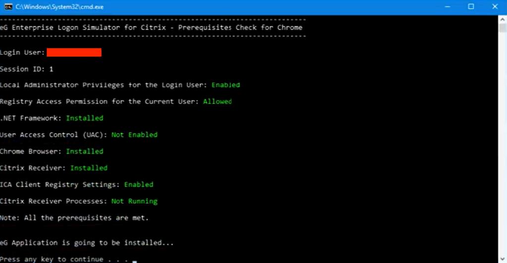 Citrix Logon installation prerequisites check