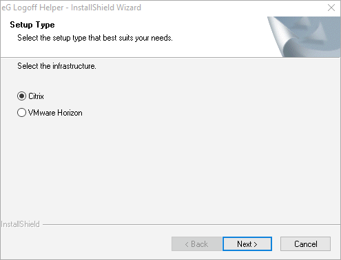 Setup Type selection allows you to select between Citrix and VMWare Horizon