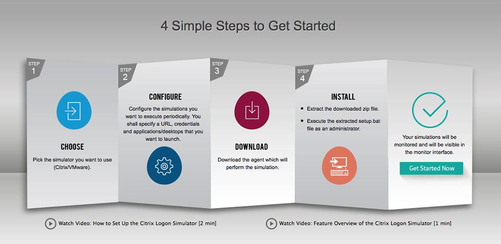 Four Steps to set up Citrix Logon Simulator