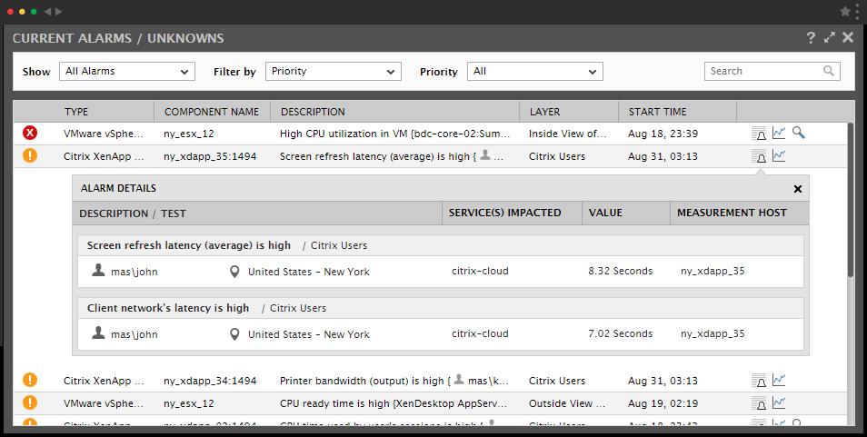 IT alert screen from eG Enterprise