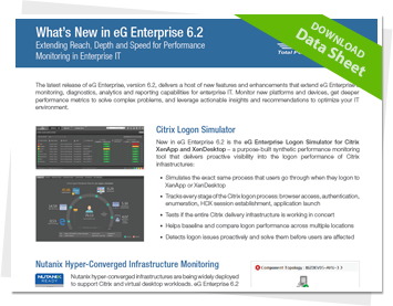 What's New in eG Enterprise 6.2