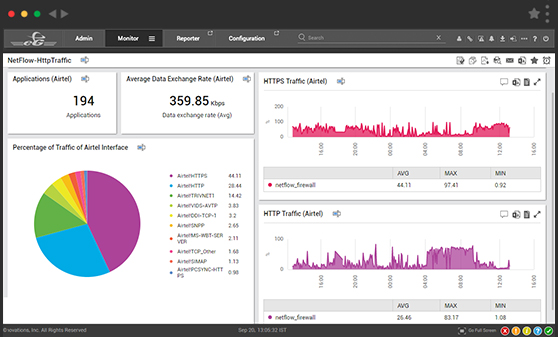 Dashboards show NetFlow traffic patterns and analyze how packets are being transmitted.